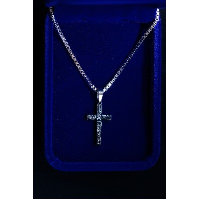 Cross, Black with Our Father (Small) and Chain