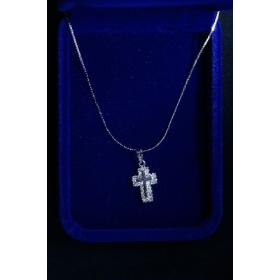 Cross Silver, Shiny ends, Thin centre Cross & Chain