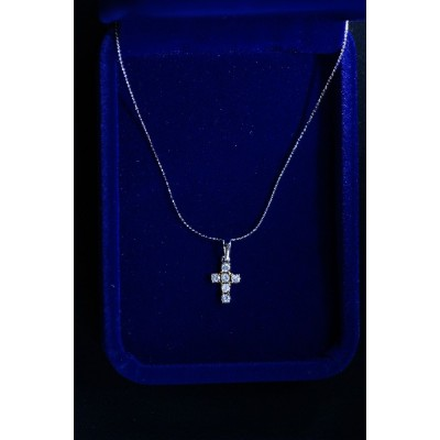 Cross Silver diamante, Tiny with Chain