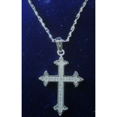 Cross Silver, inlaid Stones, patterned ends