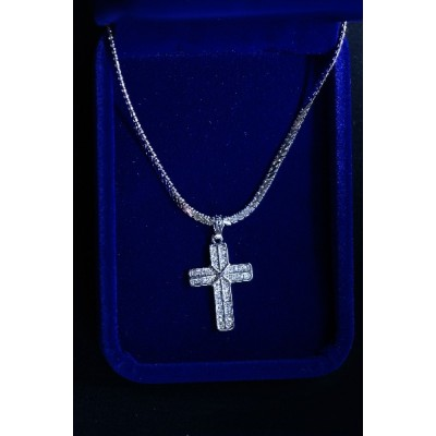Cross Silver Outline, 2 Rows Stones. X in Centre and Chain