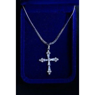 Cross Silver Crystal type, 3 Stones on Ends & Chain