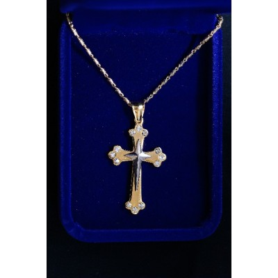 Cross Gold, Silver Centre cross, 3 Stones on Ends & Chain