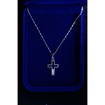 Cross Silver, Open, 3 Diamante at Base & Chain