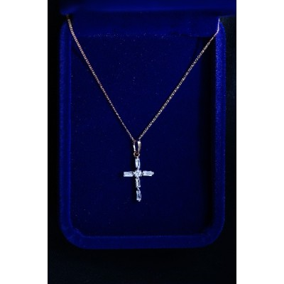 Cross Silver, long Stones with diamante in Centre & Chain