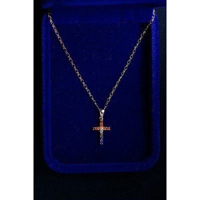 Cross Gold, Tiny, Red White Blue Stones & Chain