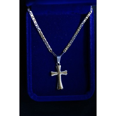 Cross Silver overlaid Black cross and chain