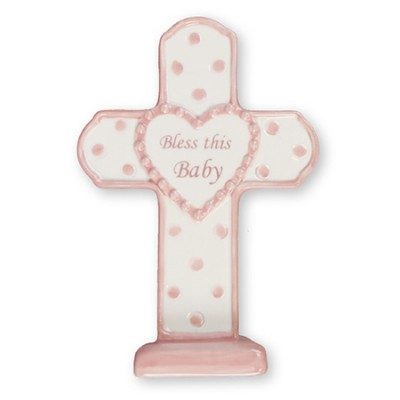 Bless this Baby Porcelain Cross standing Girl pink