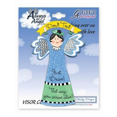 Visor Clip: Angel Don't Text (8cm x 5cm)