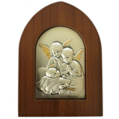 Angel and Child Wood/Silver Plaque