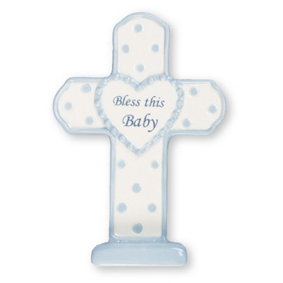 Bless this Baby Porcelain Cross Boy Blue
