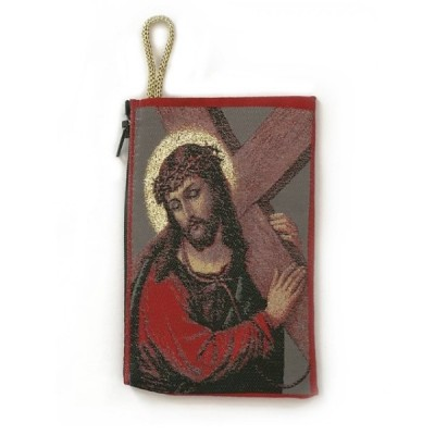 Rosary Purse-Fabric Jesus carrying the Cross
