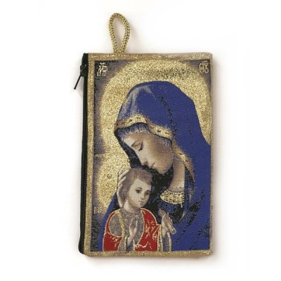 Rosary Purse fabric Blue Mother of Tenderness