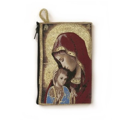 Rosary Purse fabric-Red Mother of Tenderness 15x10cm
