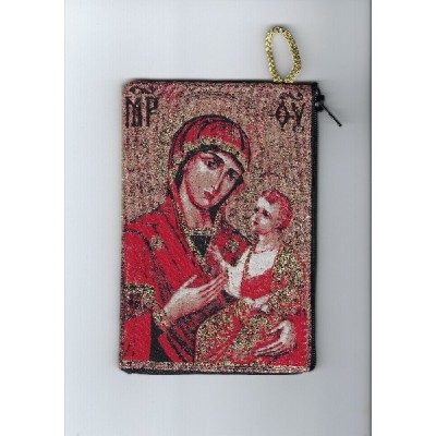 Rosary Purse Fabric-Red Mother of Perpetual Help