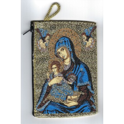 Rosary Purse Fabric-Mother of Perpetual Help,Gold Background