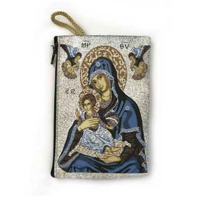 Rosary Purse Fabric-Mother of Perpetual Help,SilverBackgroun