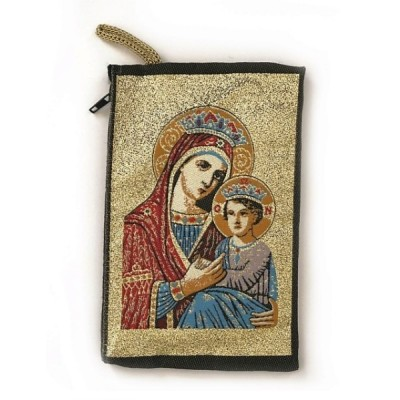 Rosary Purse Fabric-Crowned Mary & Jesus on Gold Bground
