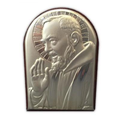 Padre Pio Stg Silver 6cm