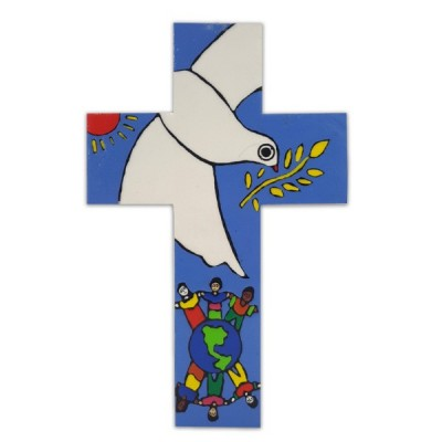 Cross:Bird of Peace with Children of the World 18cm