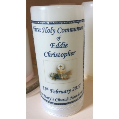First Holy Communion Candle Personalized 14cm Blue