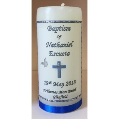 Baptism Candle Royal Blue 14cm