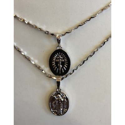 St Raphael small medal $ Chain Silverplated