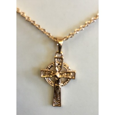 Gaelic Cross with chain  Goldplated