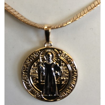 St Benedict Medallion & chain Gold plated