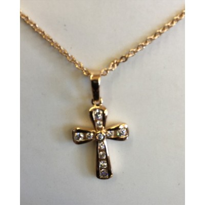 Goldplated Cross inlaid w diamantes & chain