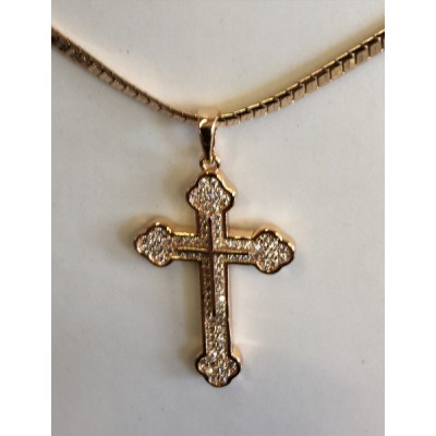 Orthodox Cross inlaid stones Goldplated Cross&Chain