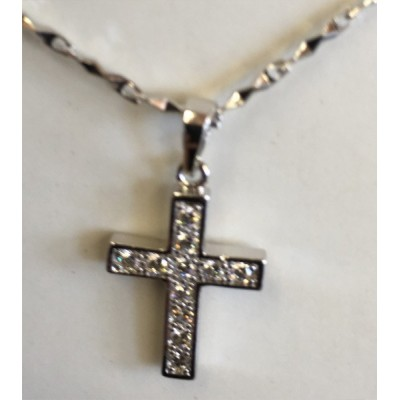 Silver Cross with stones 2cm silver plated chain 44cm