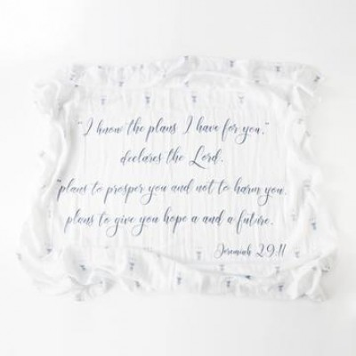 The Plans He Has For You  Jere 29:11 100% Cotton Swaddle