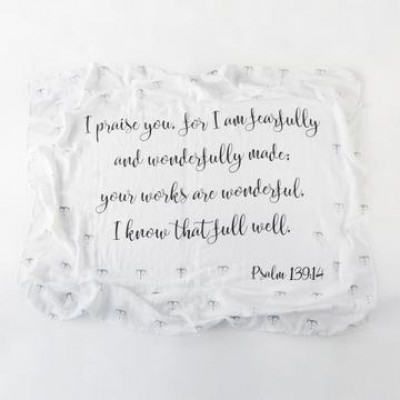 Fearfully and Wonderfully Made Ps 139:14 100% Cotton Swaddle