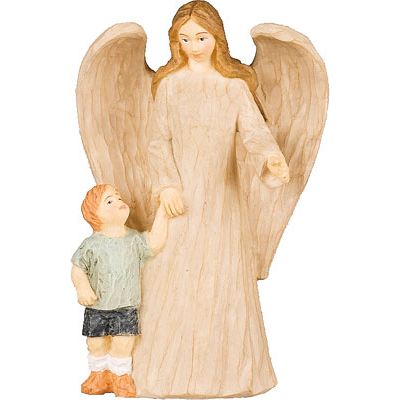 Faux Wood Resin Angel with Baby Boy