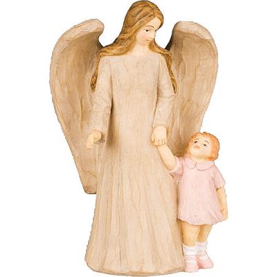 Faux Wood Resin Angel Baby Girl