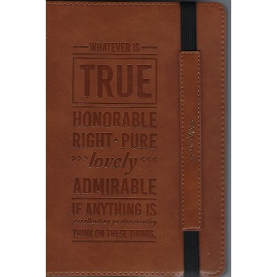 Journal Bullet Whatever Is True Brown Flex w/elastic