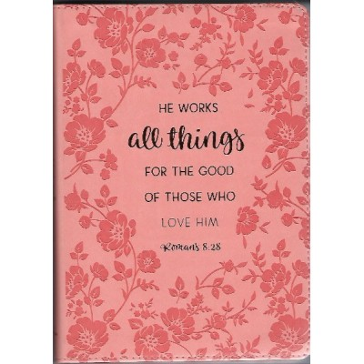 Journal He Works All Things Peach LuxLeather-Romans8:28