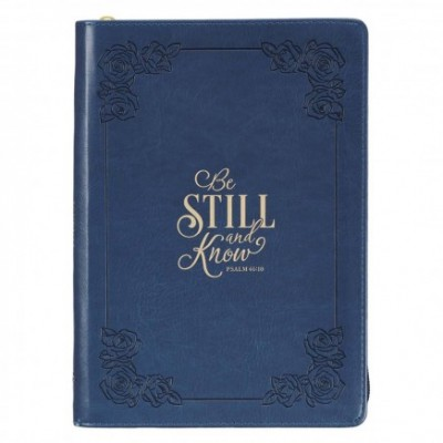 Journal Be Still and Know Navy Classic Zip Luxleather