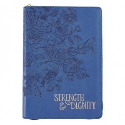 Journal Strength & Dignity Blue zippered Luxleather