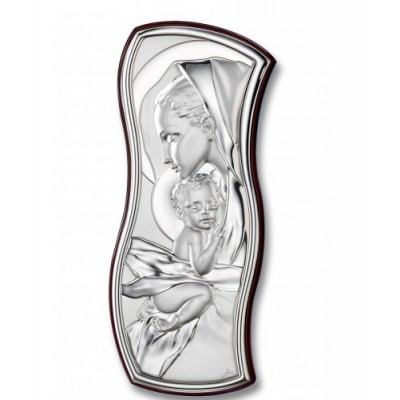 Mother and Child Silver Plaque 8.5cm